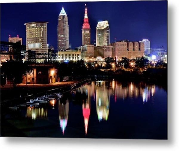 Iconic Night View Of Cleveland Metal Print