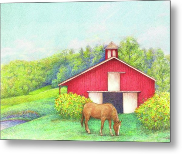 Idyllic Summer Landscape Barn With Horse Metal Print