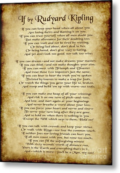 If By Rudyard Kipling - Parchment Style Metal Print