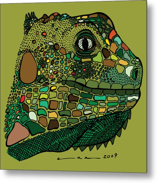 Iguana - Color Metal Print by Karl Addison