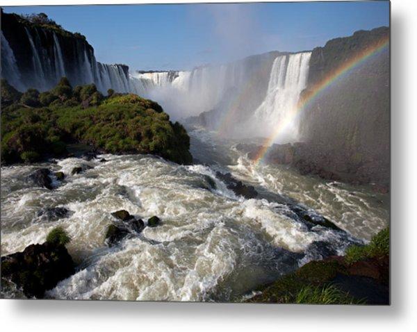 Iguassu Falls With Rainbow Metal Print