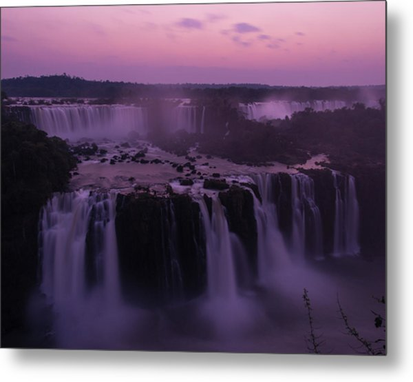 Iguazu Sunset In Violet Metal Print