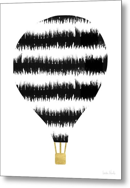 Ikat Stripe Hot Air Balloon- Art By Linda Woods Metal Print