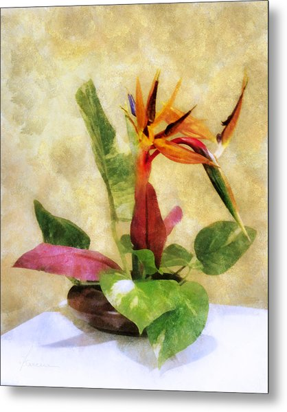 Ikebana Bird Of Paradise Metal Print