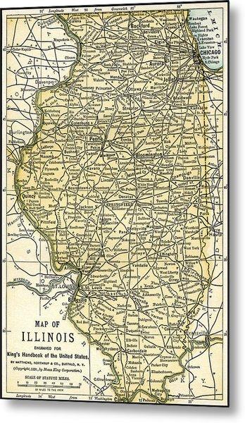 Illinois Antique Map 1891 Metal Print