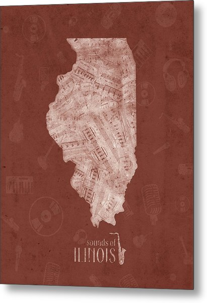 Illinois Map Music Notes 5 Metal Print