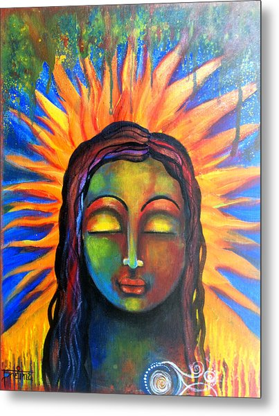 Metal Print featuring the mixed media Illuminated By Her Own Radiant Self by Prerna Poojara