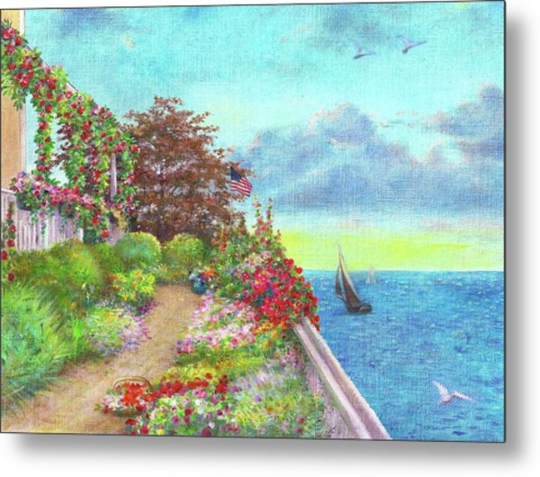 Illustrated Beach Cottage Water's Edge Metal Print