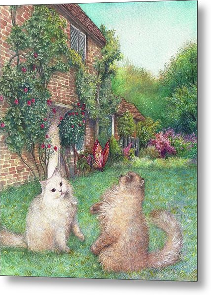 Illustrated Cats In English Cottage Garden Metal Print
