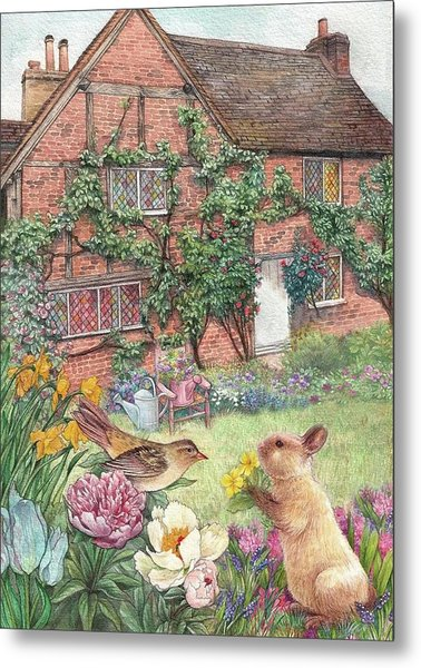 Illustrated English Cottage With Bunny And Bird Metal Print