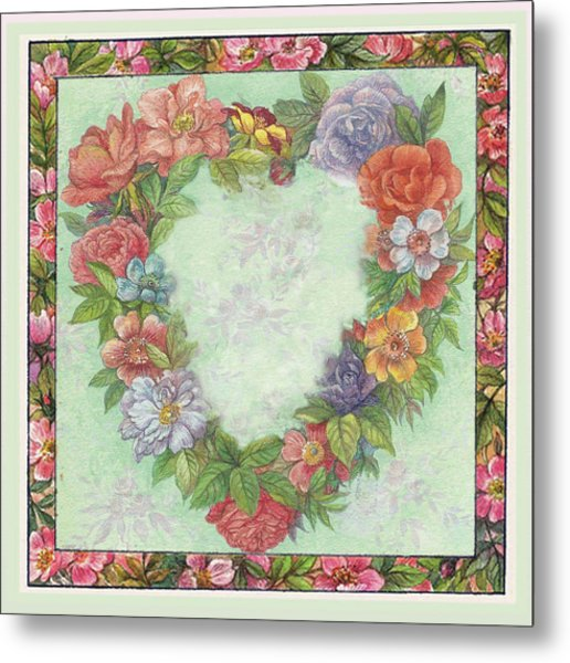 Illustrated Heart Wreath Metal Print