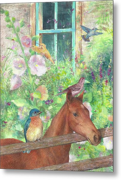 Illustrated Horse And Birds In Garden Metal Print