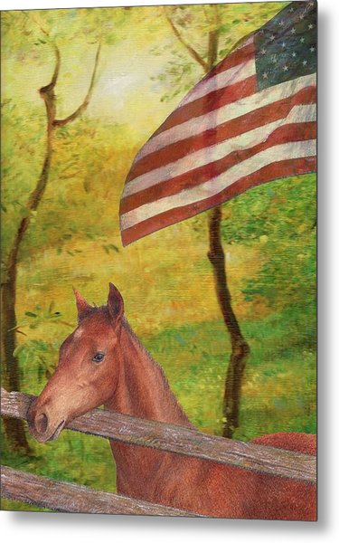 Illustrated Horse In Golden Meadow Metal Print