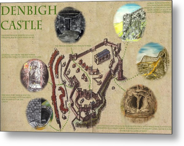 Illustrated Map Of Denbigh Castle 1611 Ad Metal Print by Martin Williams