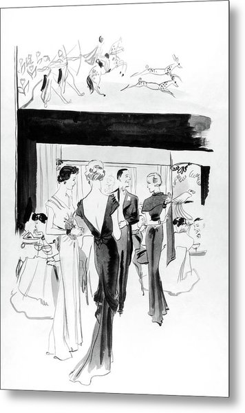 Illustration Of A Man And Women At The Plaza Metal Print by Jean Pages