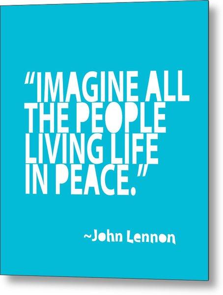 Imagine In Blue Metal Print