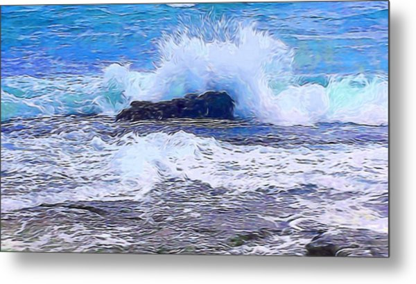 Ocean Impact In Abstract 1 Metal Print