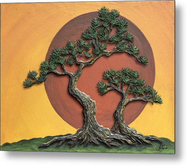 Impasto - Bonsai With Sun - One Metal Print
