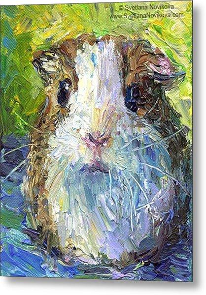 Impasto Impressionistic  Guinea Pig Art Metal Print