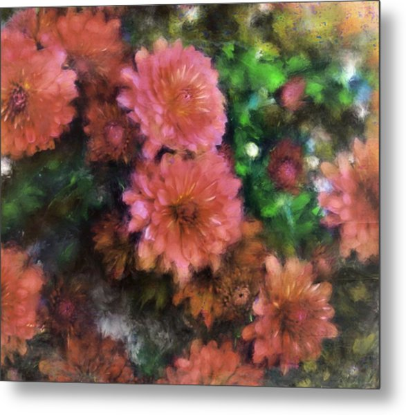 Bronze And Pink Mums Metal Print