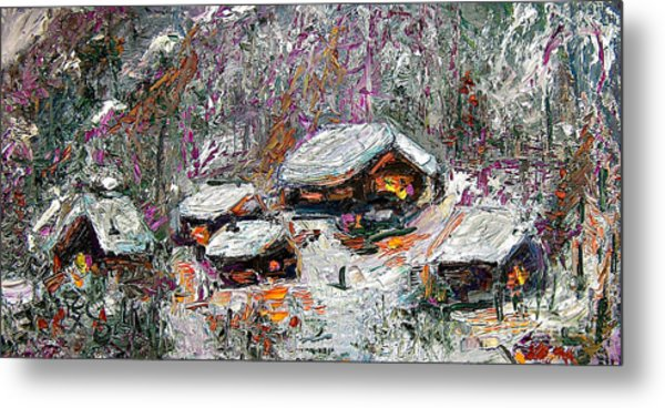 Metal Print featuring the painting Impressionism Winter Cabins by Ginette Callaway
