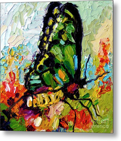 Impressionist Butterfly On Red Flowers Metal Print