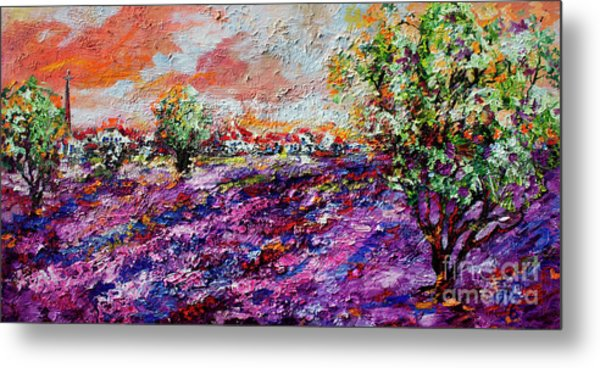 Impressionist Lavender Fields Provence Metal Print