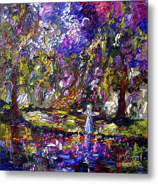 Metal Print featuring the painting Impressionist Savannah Georgia Gardens Bird Girl by Ginette Callaway