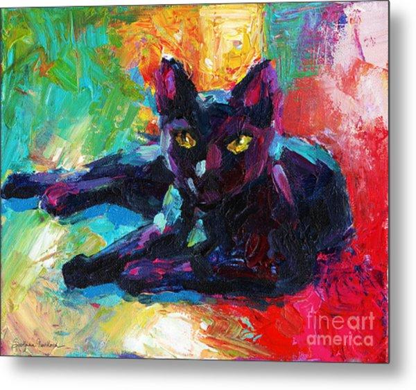 Impressionistic Black Cat Painting 2 Metal Print