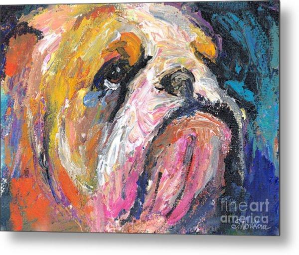 Impressionistic Bulldog Painting Metal Print