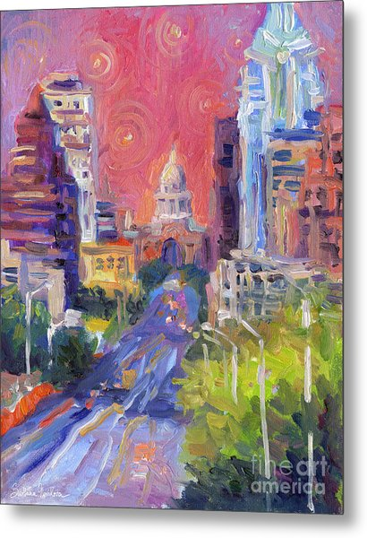 Impressionistic Downtown Austin City Painting Metal Print