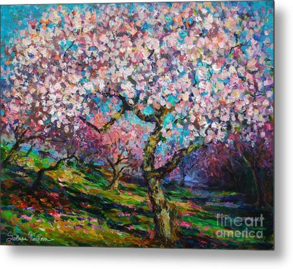 Impressionistic Spring Blossoms Trees Landscape Painting Svetlana Novikova Metal Print