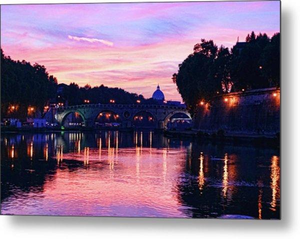 Impressions Of Rome - Glorious Sky Over Tiber River Metal Print