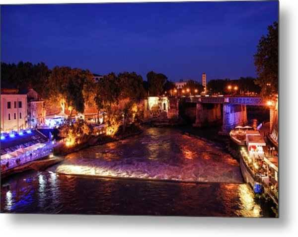 Impressions Of Rome - Summer Festival On The Banks Of Tiber River Metal Print