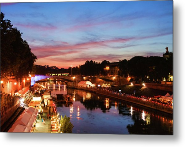 Impressions Of Rome - Summertime Festival On The Banks Of Tiber River Metal Print