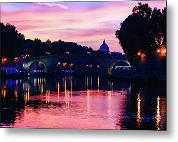 Impressions Of Rome - Tiber River Silky Current In Pink And Purple Metal Print