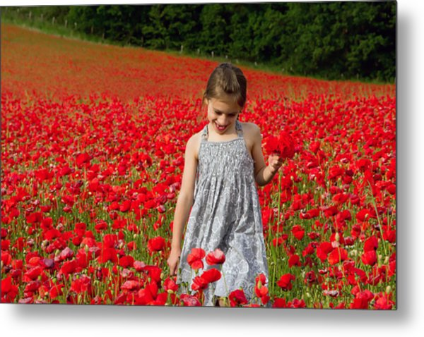 In A Sea Of Poppies Metal Print