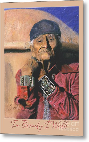 In Beauty I Walk 2 - Pastel Art - Native American Metal Print