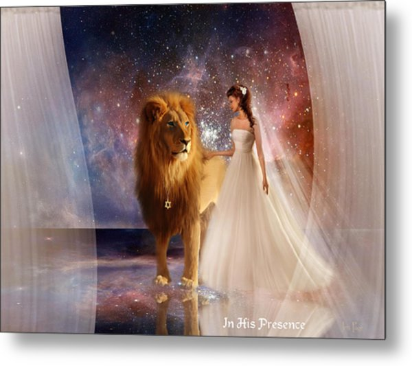 In His Presence  With Title Metal Print