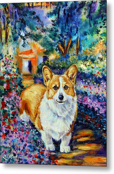 In Monet's Garden - Pembroke Welsh Corgi Metal Print