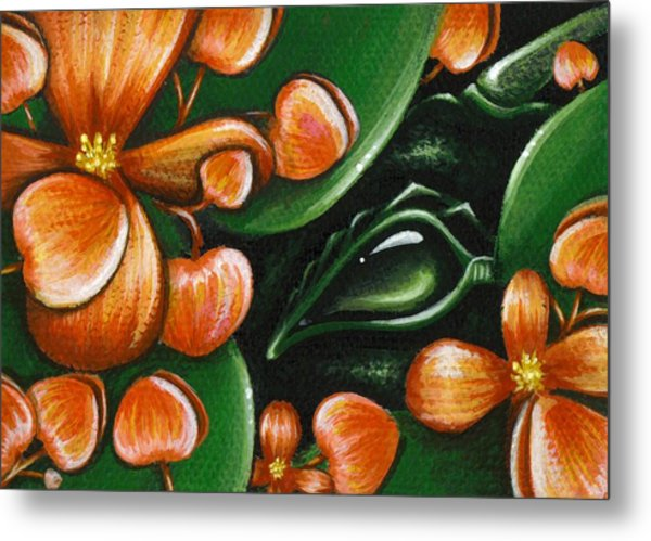 In The Begonias Metal Print by Elaina  Wagner