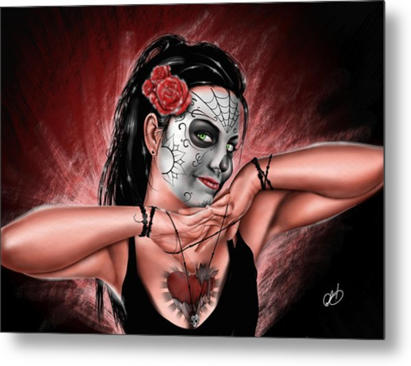 Metal Print featuring the painting In The Hands Of Death by Pete Tapang