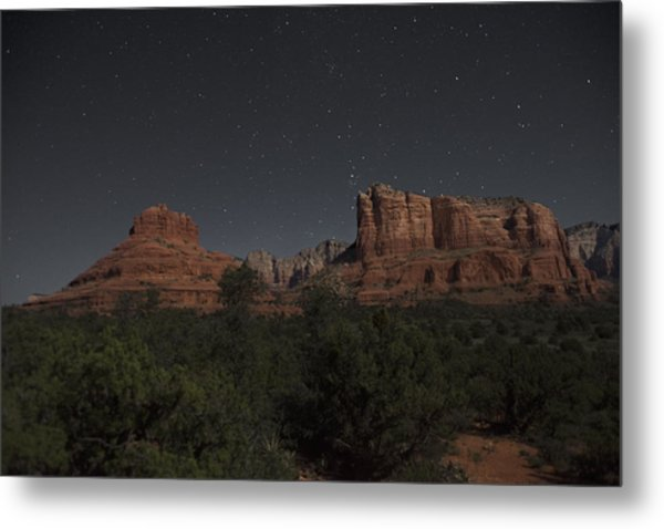 In The Moonlight Bell Rock Courthouse Butte Sedona Metal Print