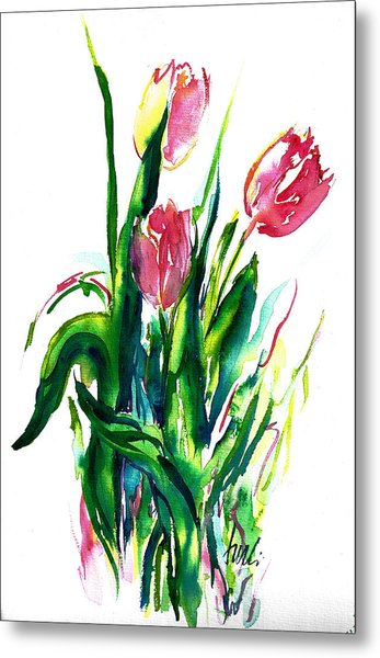 In The Pink Tulips Metal Print