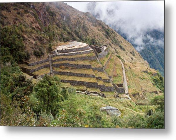 Inca Ruins And Terraces Metal Print