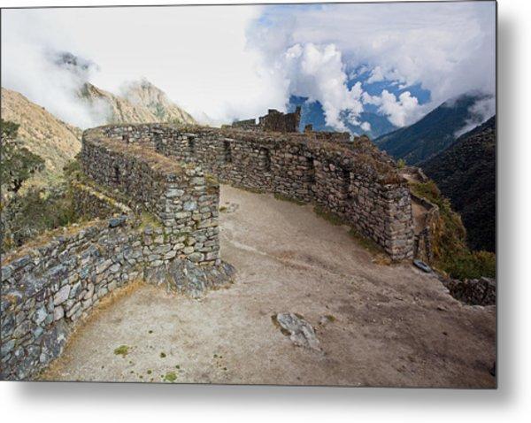 Inca Ruins In Clouds Metal Print