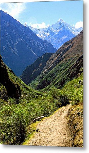 Inca Trail And Mt. Veronica Metal Print by Alan Lenk
