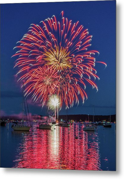 Independence Day Fireworks In Boothbay Harbor Metal Print