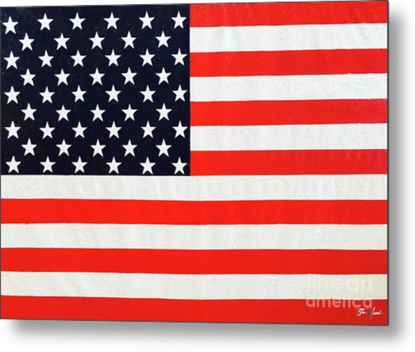 Pooling Independence Day Large Scale Oil On Canvas Original United States Flag Metal Print