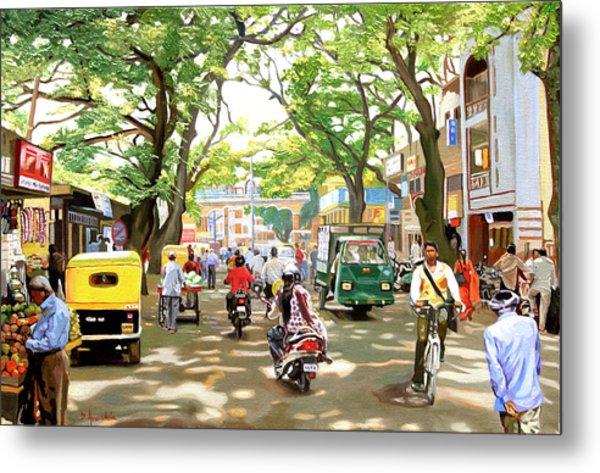 India Street Scene Metal Print by Dominique Amendola